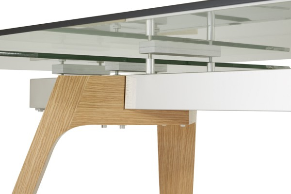 Favorite Glass Oak Dining Tables For Serene Seville Extending Dining Table 160Cm/200Cm Clear Glass With (View 7 of 20)