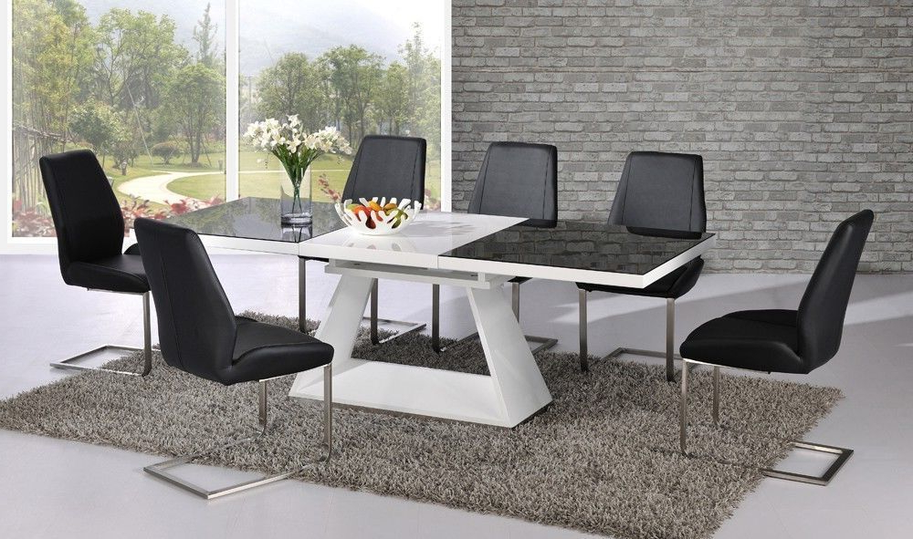 Favorite High Gloss Dining Tables Sets With Regard To Black Glass White High Gloss Extending Dining Table With 8, Black (View 5 of 20)