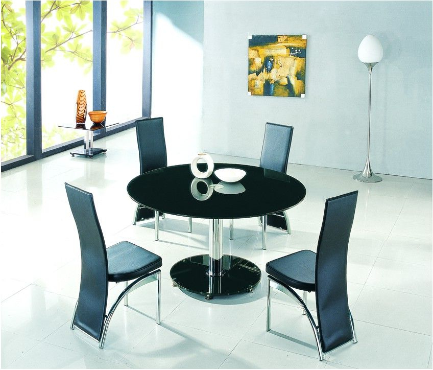 Favorite Incredible Black Glass Dining Table Set With 4 Faux Leather Chairs With Regard To Round Black Glass Dining Tables And 4 Chairs (View 1 of 20)