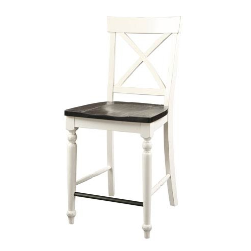 Favorite Jaxon Grey 5 Piece Extension Counter Sets With Fabric Stools For Emerald Home Furnishings Mountain Retreat X Back Barstool With Wood (View 14 of 20)