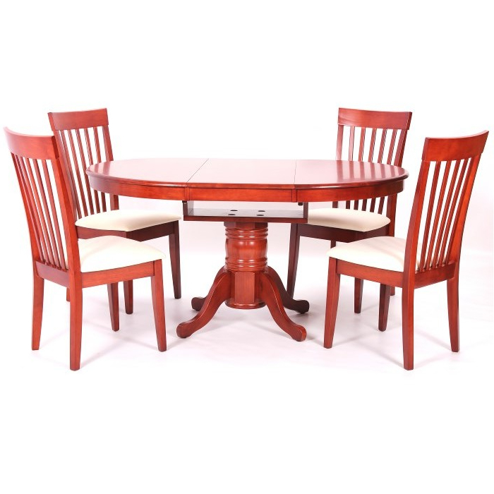 Favorite Leicester Extending Dining Table + 4 Chairs Mahogany Throughout Mahogany Extending Dining Tables And Chairs (Gallery 20 of 20)