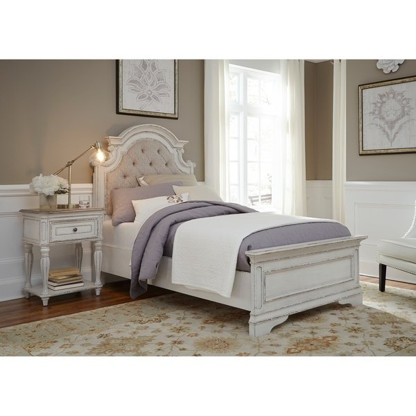 Favorite Magnolia Home White Keeping 96 Inch Dining Tables Intended For Shop Magnolia Home Antique White Upholstered Bed – Free Shipping (View 5 of 20)