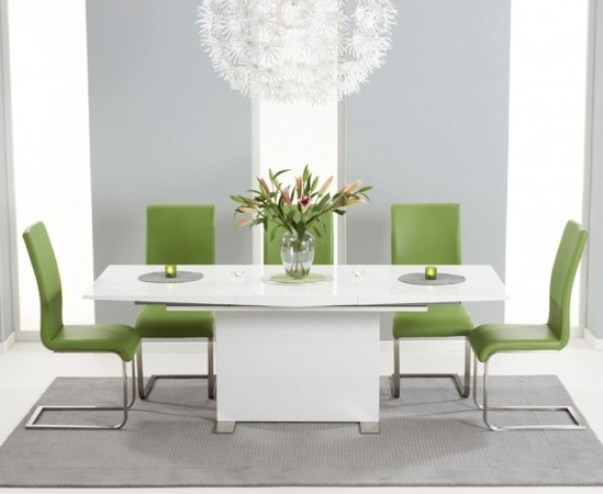 Favorite Marila 150Cm White High Gloss Extending Dining Table With 6 Malibu For Cheap Extendable Dining Tables (View 7 of 20)