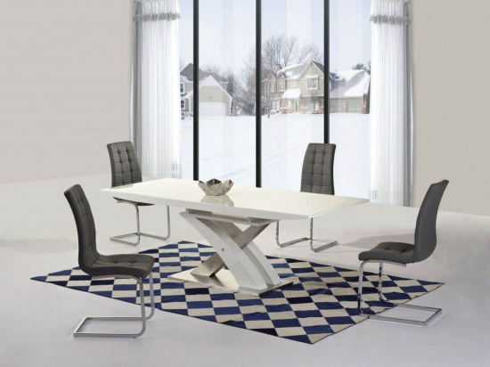 Favorite Mayfair Xo White High Gloss Big Extending Dining Table And 6 Enzo Inside Mayfair Dining Tables (Gallery 16 of 20)
