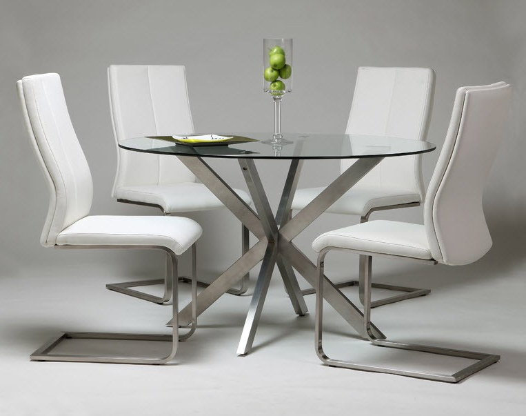Favorite Modern Home And Office Furniture Store Eritea Dining Table With Pertaining To Glass And Stainless Steel Dining Tables (View 7 of 20)