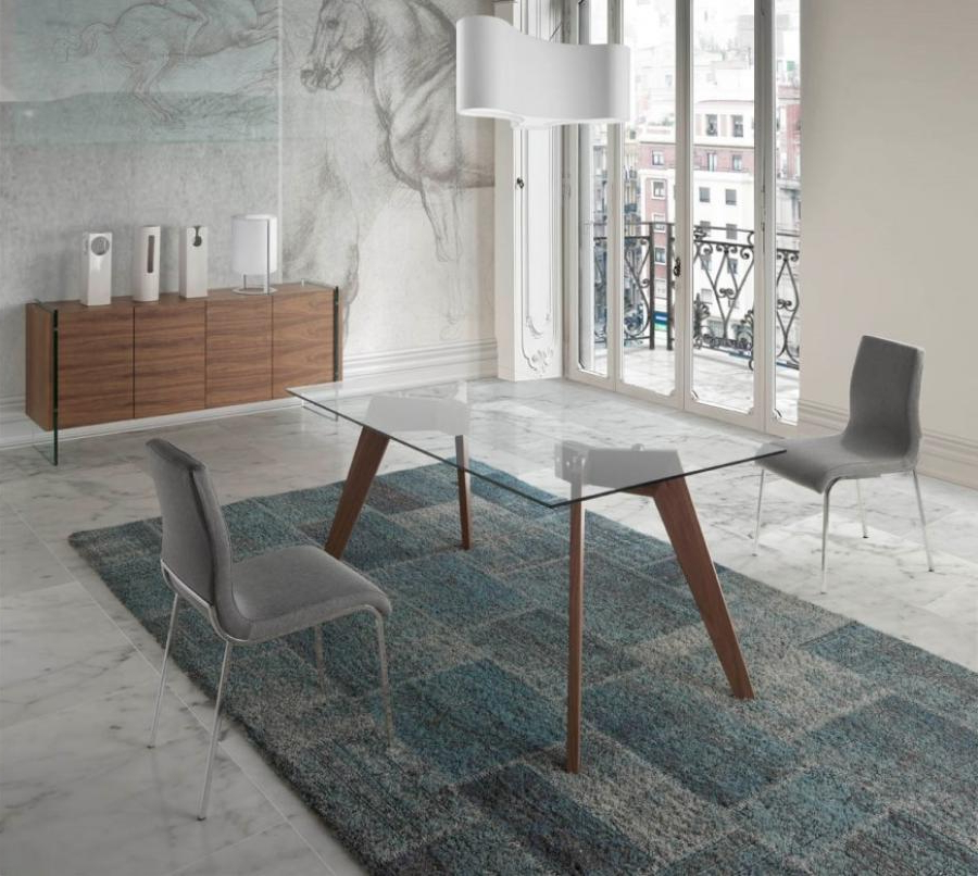 Favorite Modern Vienna Glass Top Dining Table, Walnut Legs/3 Sizes/rectangle Regarding Vienna Dining Tables (Gallery 8 of 20)