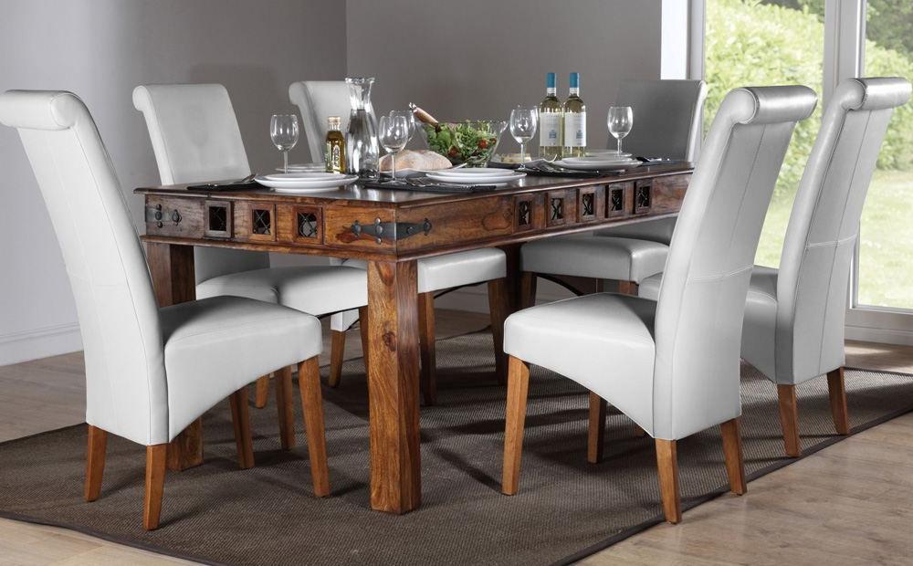 Favorite Mumbai & Boston Sheesham Dining Set (White) – Dining Table And 4 6 For Sheesham Dining Tables 8 Chairs (Gallery 12 of 20)