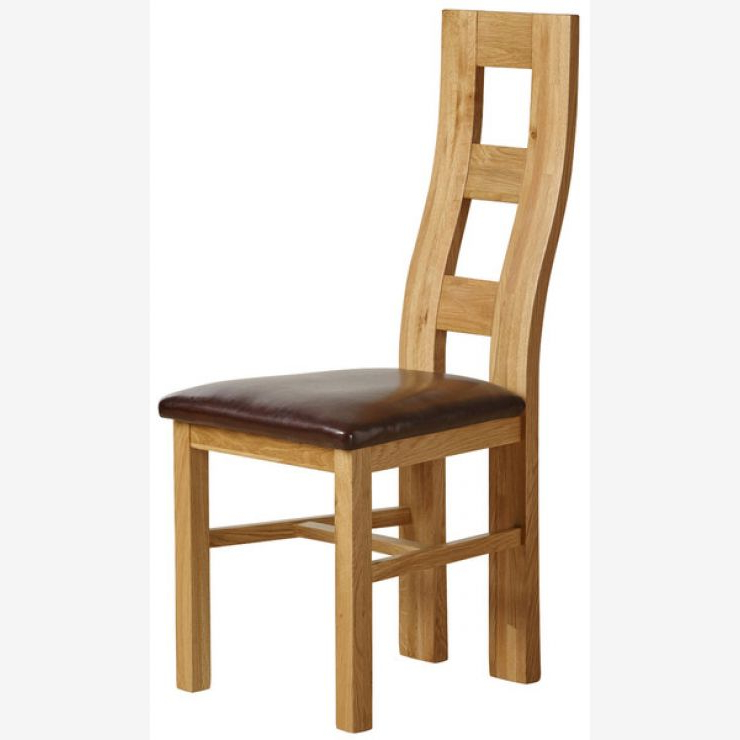 Favorite Real Leather Dining Chairs In Wave Back Dining Chair In Natural Oak – Brown Leather (View 5 of 20)