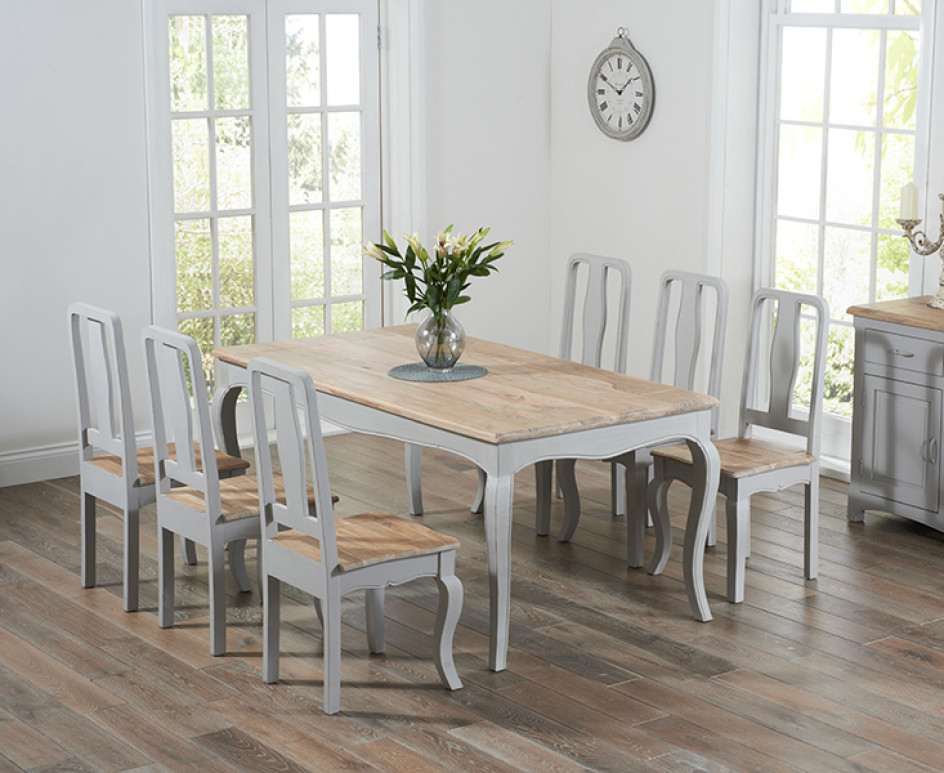 Favorite Shabby Dining Tables And Chairs Throughout Parisian 175cm Grey Shabby Chic Dining Table With Chairs (View 2 of 20)