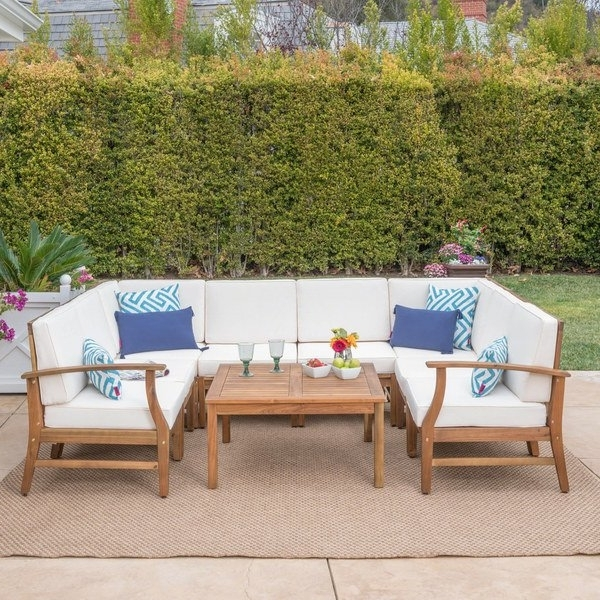 Favorite Shop Perla Outdoor Acacia Wood 9 Piece Sectional Sofa Set With With Perla Side Chairs (View 15 of 20)