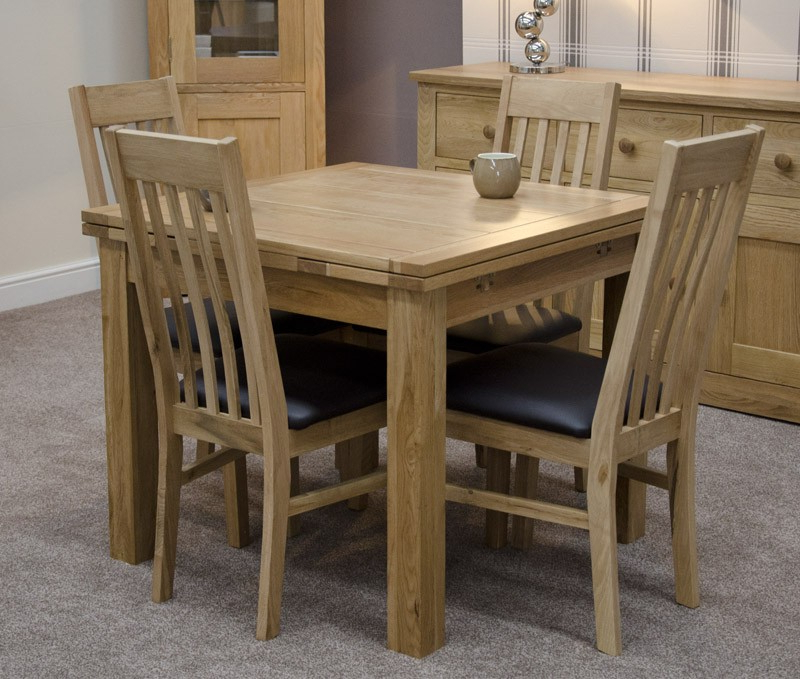 Favorite Small 4 Seater Dining Tables For Millie Solid Oak Small Draw Leaf Extending Table With Chair Options (View 6 of 20)
