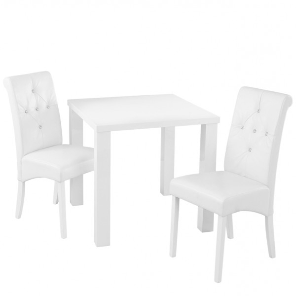 Favorite Small White Dining Tables Pertaining To Monroe White High Gloss Small Dining Table And Chairs (View 7 of 20)