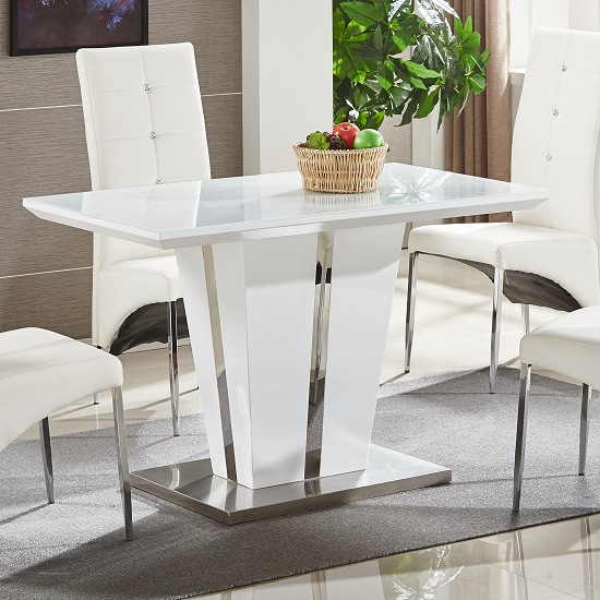 Favorite Small White Dining Tables Throughout Memphis Glass Dining Table Small In White Gloss And Chrome (View 2 of 20)