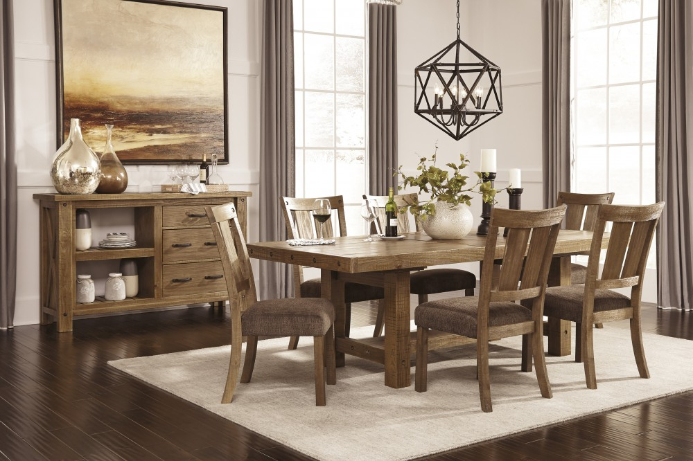 Favorite Tamilo – Gray/brown – Rect Dining Room Ext Table & 6 Uph Side Chairs In Market 6 Piece Dining Sets With Side Chairs (View 8 of 20)