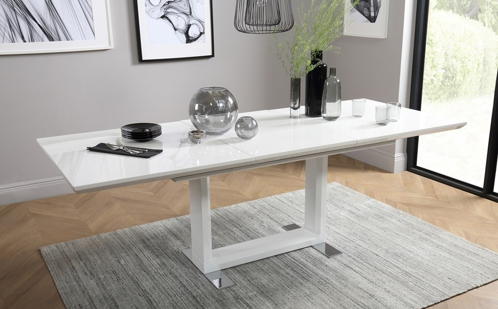 Favorite Tokyo White High Gloss Extending Dining Room Table 160 220 Only In Black Gloss Extending Dining Tables (View 5 of 20)
