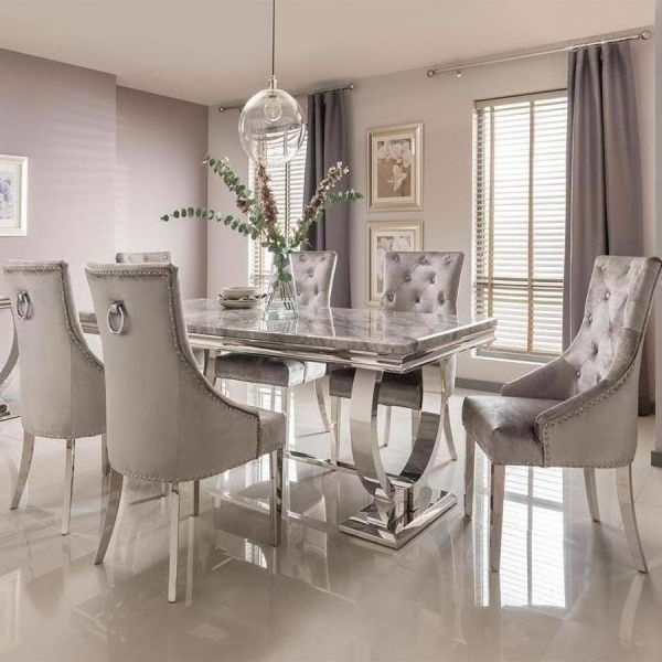 Favorite Vida Living Arianna Grey Marble Dining Set In Garten Marble Skirted Side Chairs Set Of (View 12 of 20)