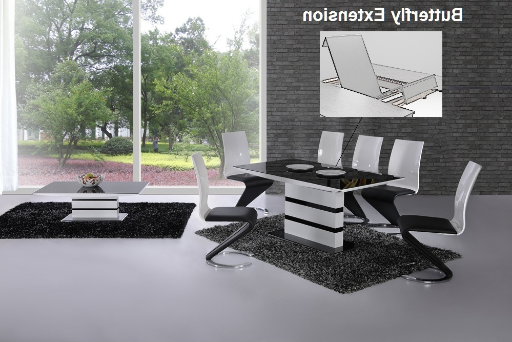 Favorite White Extending Dining Tables And Chairs Throughout K2 White & Black Glass Designer Extending Dining Table Only Or With (View 9 of 20)