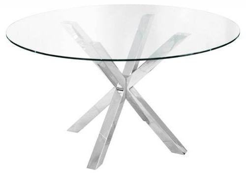 Febland – Crossly Circular Glass Dining Table – Sculptured Chrome Throughout Popular Chrome Glass Dining Tables (View 12 of 20)