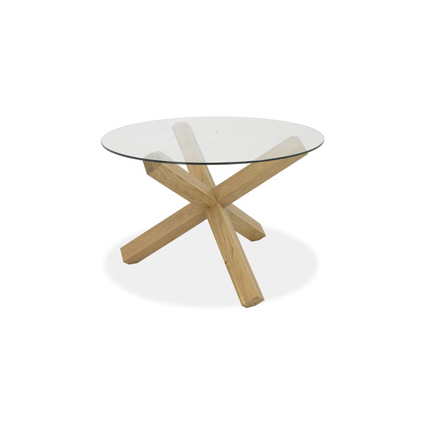 Felix 120Cm Round Glass Top / Oak Legs Dining Table – Sofa Concept With Most Recent Round Glass And Oak Dining Tables (View 5 of 20)
