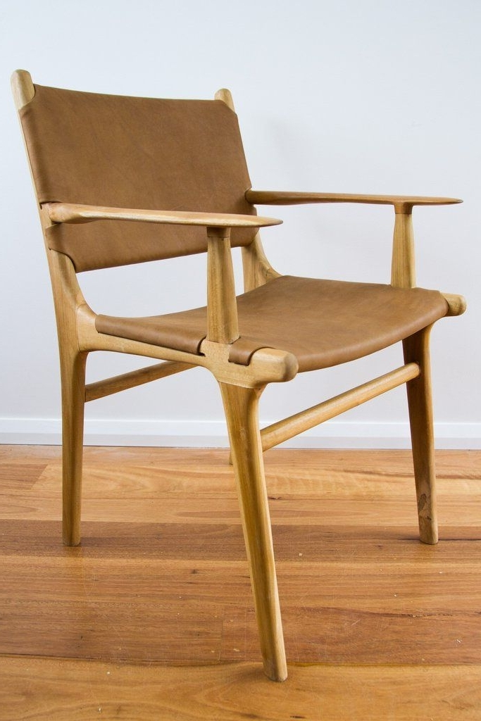 Flat Leather Armed Dining Chair (View 2 of 20)