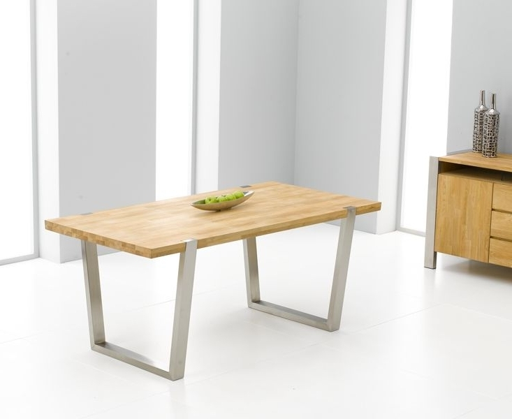 Flavia Oak & Brushed Steel Dining Table – 180Cm (View 10 of 20)