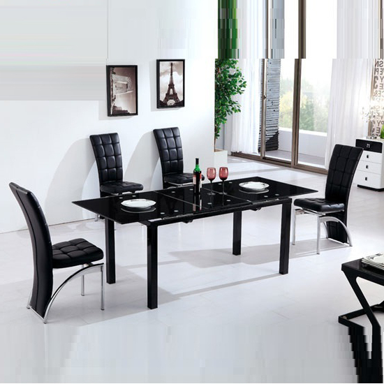 Florence Extending Black Glass Dining Table With 6 Ravenna Intended For Well Liked Florence Dining Tables (View 12 of 20)