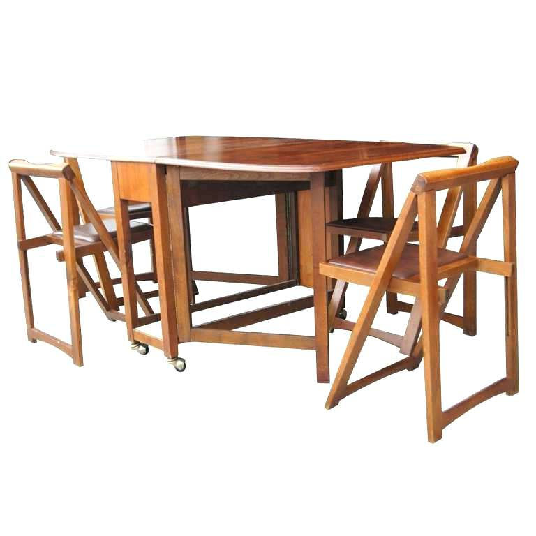 Folding Dining Table And Chairs Sets In Preferred White Folding Dining Table And Chairs White Round Drop Leaf Dining (Gallery 14 of 20)
