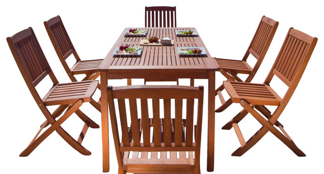 Folding Outdoor Dining Tables In Most Recently Released Balthazar Rectangular Table & Folding Chair Outdoor Wood Dining Set (View 19 of 20)