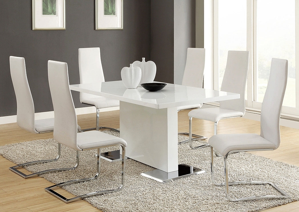 Foothills Family Furniture Nameth White Dining Table W/4 Side Chairs For Recent Craftsman 5 Piece Round Dining Sets With Side Chairs (View 9 of 20)