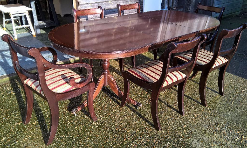 Free Delivery* Mahogany Extending Dining Table & 6 Regency Chairs Within Trendy Mahogany Extending Dining Tables And Chairs (View 5 of 20)