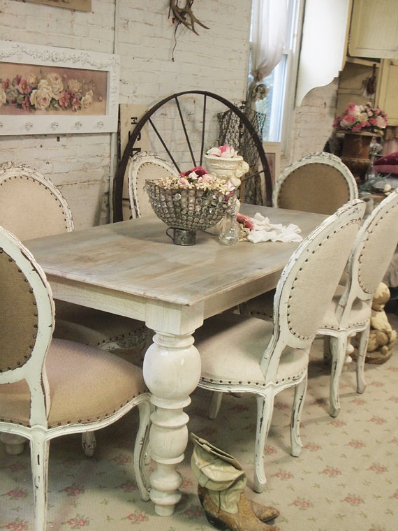 French Chic Dining Tables With Well Known Painted Cottage Chic Shabby French Linen Dining Table Farm Table (View 13 of 20)