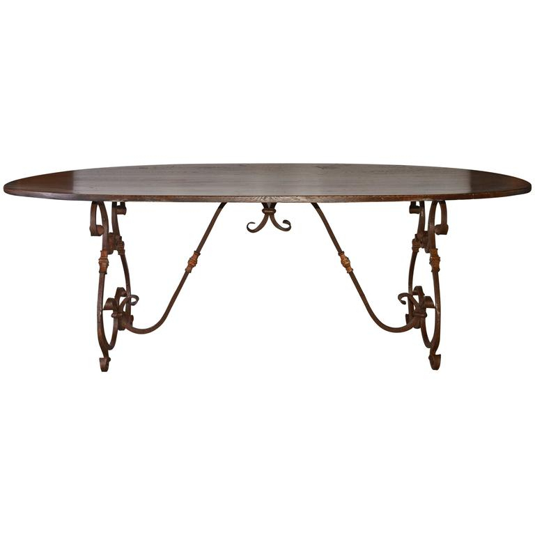 French Inspired Metal Base Oval Dining Table For Sale At 1stdibs With Latest Oval Dining Tables For Sale (View 14 of 20)