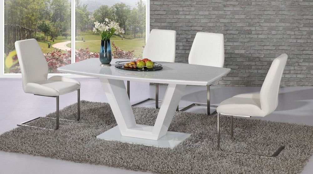Full White Glass / High Gloss Dining Table & 4 Chairs Homegenies Within Famous High Gloss Dining Room Furniture (View 13 of 20)