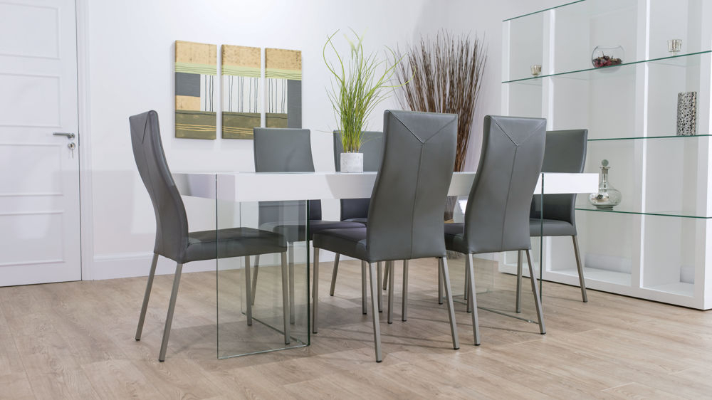 Funky Modern White Oak And Glass Dining Table And Real Leather Chairs With Regard To Popular Glass Dining Tables White Chairs (View 13 of 20)
