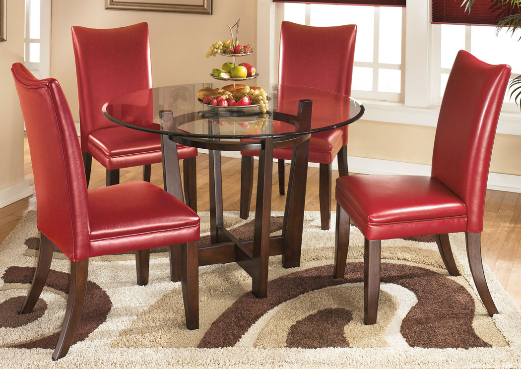 Furniture Exchange Charell Round Dining Table W/4 Red Side Chairs With Regard To Trendy Craftsman 5 Piece Round Dining Sets With Uph Side Chairs (View 12 of 20)