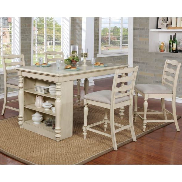 Furniture Of America Jeanine Antique White Farmhouse Kitchen Island In Famous Lassen 7 Piece Extension Rectangle Dining Sets (View 7 of 20)