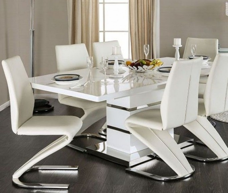 Furniture Of America Midvale White And Chrome Extendable Rectangular With Recent Chrome Dining Tables And Chairs (View 13 of 20)