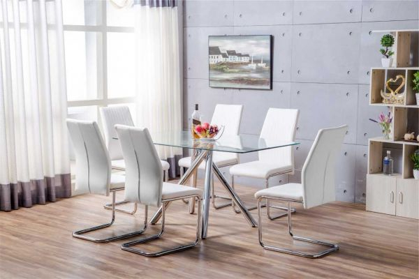Furniturebox Within Well Known Glass Dining Tables White Chairs (View 7 of 20)
