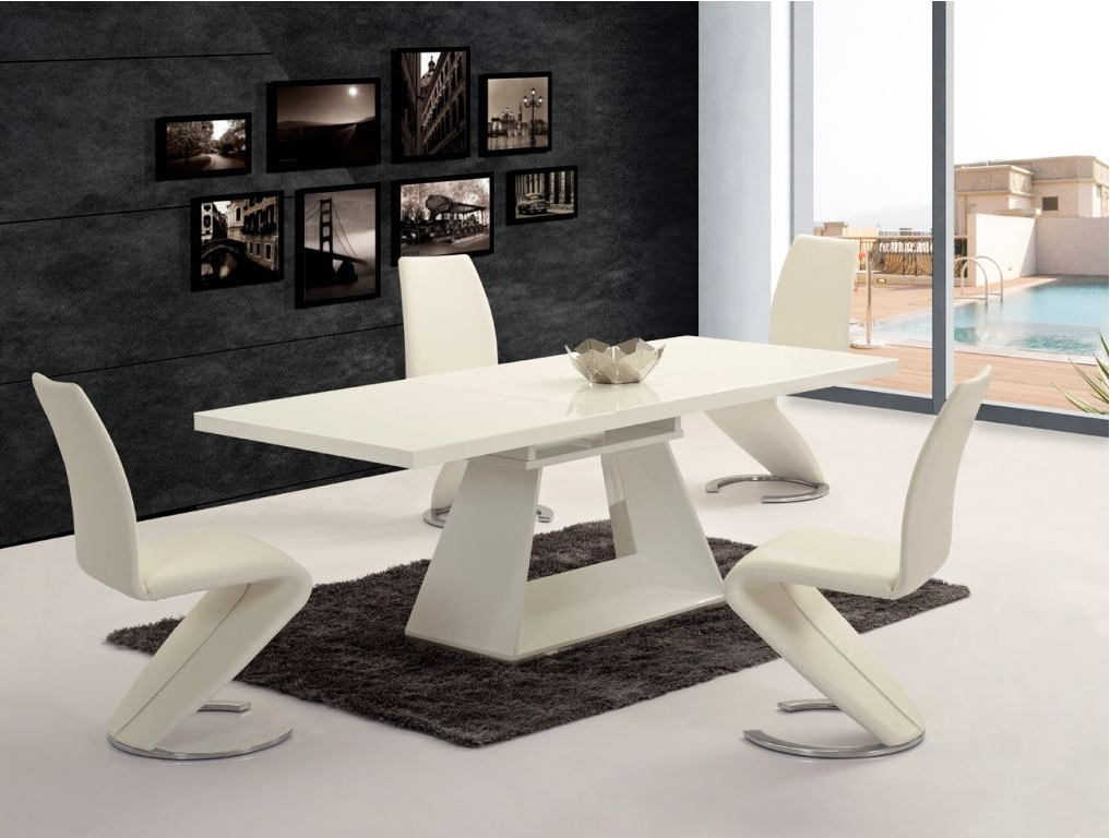 Ga Silvano Extending White Gloss 160 220cm Dining Table & Luciano Chairs Pertaining To Most Recently Released Cream High Gloss Dining Tables (View 10 of 20)