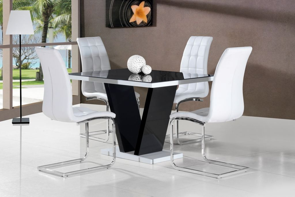 Ga Vico High Gloss Grey Glass Top Designer 120 Cm Dining Set & 4 Inside Popular High Gloss White Dining Tables And Chairs (Gallery 1 of 20)