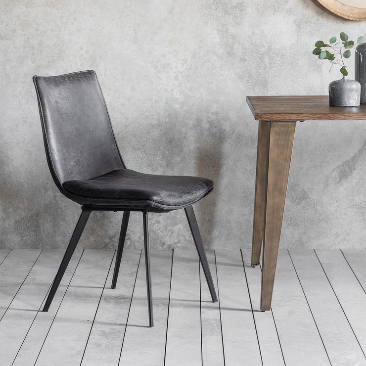 Gallery Hinks Grey Faux Leather Dining Chair, 2 Pack (View 7 of 20)