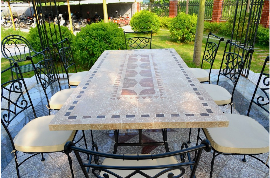 Garden Dining Tables With Widely Used Outdoor Garden 160 200 240Cm Mosaic Natural Stone Marble Dining (View 10 of 20)