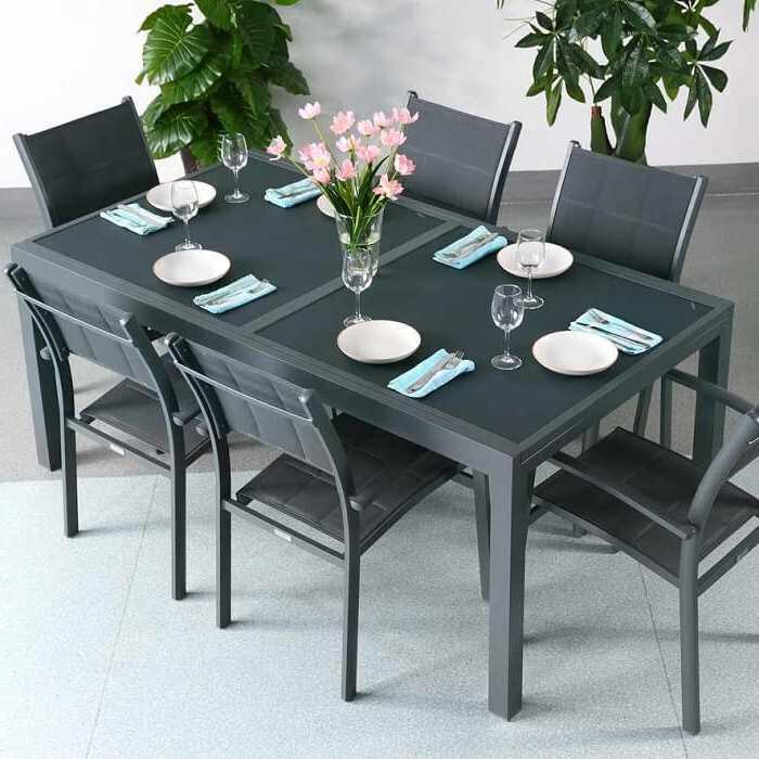 Garden Table Set Florence Grey – 6 Person Aluminium & Glass In Popular Extending Outdoor Dining Tables (Gallery 6 of 20)