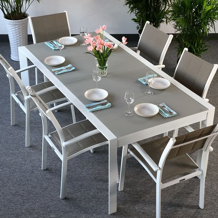 Garden Table Set Violet White & Champagne – 6 Person Aluminium Regarding Famous Garden Dining Tables (View 12 of 20)