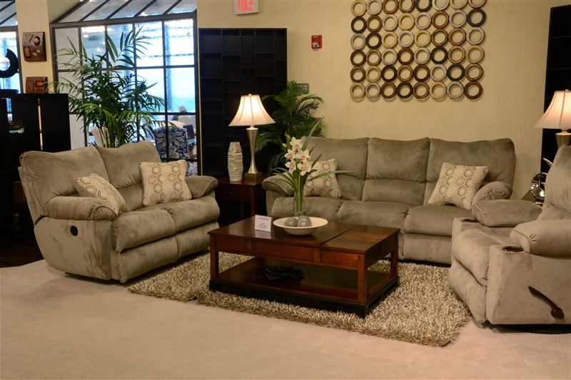 "Gavin 7 Piece Dining Sets With Clint Side Chairs In Favorite Gavin 2 Piece Reclining Sofa Set In ""taupe"" Color Fabric (View 4 of 20)"