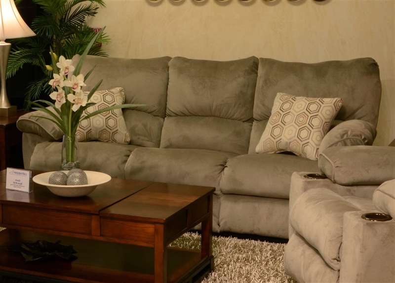 """Gavin Reclining Sofa With Drop Down Table In """"taupe"""" Color Fabric Pertaining To Most Up To Date Gavin 7 Piece Dining Sets With Clint Side Chairs (View 9 of 20)"""