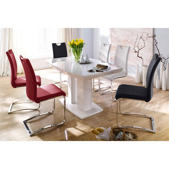 Genisimo High Gloss 4 Seater Dining Table With Koln Chairs Throughout 2018 Gloss Dining Tables Sets (View 19 of 20)