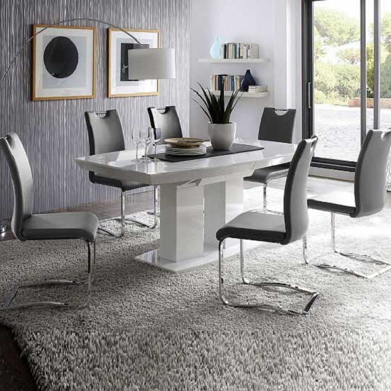 Genisimo High Gloss Dining Table With 6 Grey Koln Chairs For Latest White Gloss Dining Room Furniture (View 2 of 20)