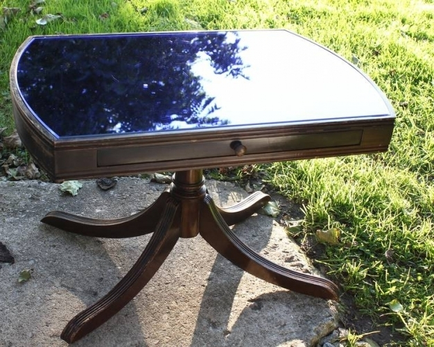 George J. Lippert, Limited Table With Blue Mirrored Glass Top For Throughout Well Known Chapleau Ii Extension Dining Tables (Gallery 19 of 20)