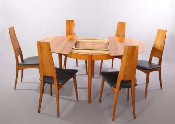 German Cherry Wood Extendable Dining Table With Six Chairsernst Intended For Most Popular Dining Tables And Six Chairs (View 11 of 20)